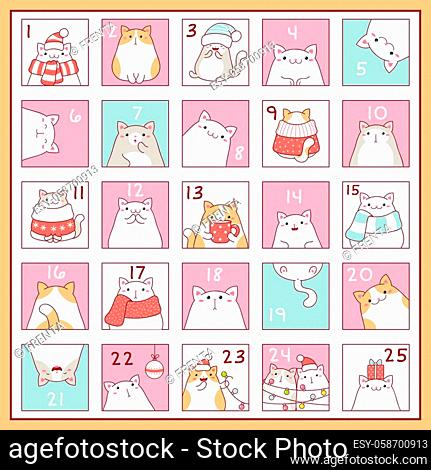 Square background with Christmas advent calendar with cute cartoon cats. Set of winter holiday xmas tags with numbers. Vector EPS8