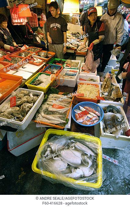 Fresh seafood market in Danshui suburb, Taipei, Taiwan (Republic of China)