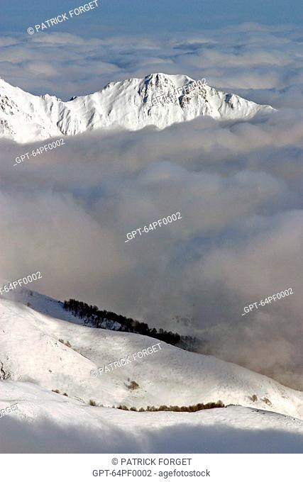 SNOW-COVERED MOUNTAINS AND A SEA OF CLOUDS, GOURETTE, PYRENEES-ATLANTIQUES 64, FRANCE