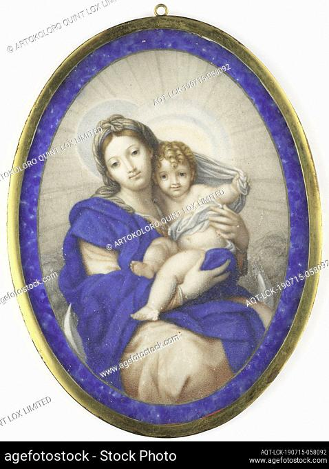 Madonna on the crescent moon, with the Christ child in her arms. After an original by Carlo Maratti in the Galleria Capitolina in Rome
