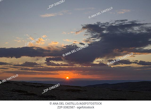 Arcos de las Salina Teruel Aragon Spain on August 2019: Sunset in the astronomical observatory of Javalambre for shooting the milky way and stars in a summer...