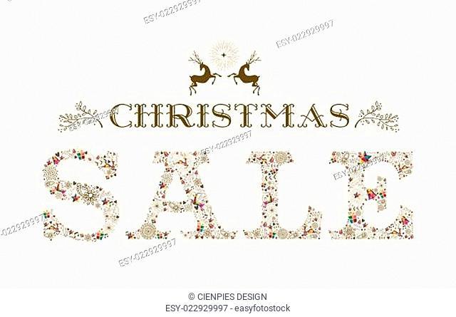 Vintage Christmas sale season colorful reindeer poster design
