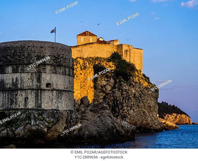 Old town, Dubrovnik, Croatia. Bokar fort lit by sunset warm light