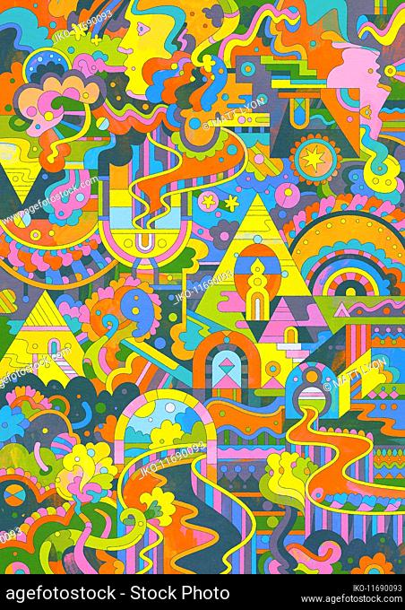 Elaborate brightly coloured abstract pattern