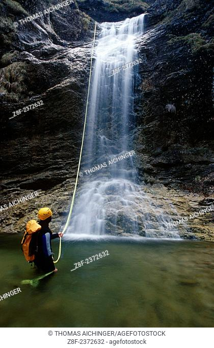 a man by the canyoning in austria