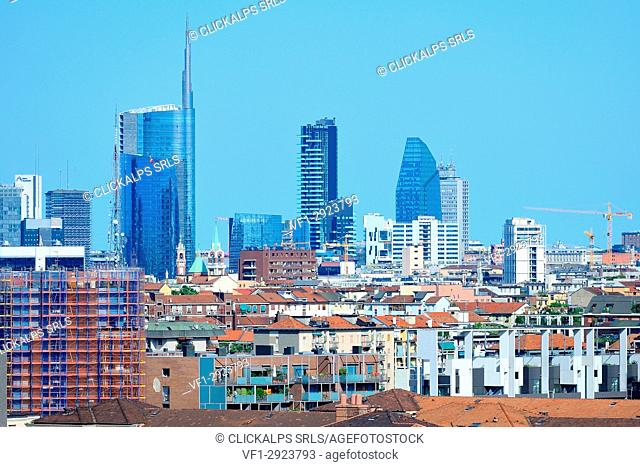 Milan, Italy, the new skyline with Porta Nuova and Citylife skyscrapers, view from Monte Stella park, on summer 2017
