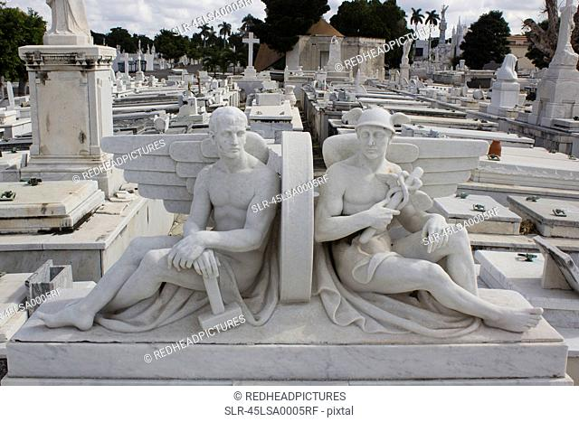 Statues in raised cemetery