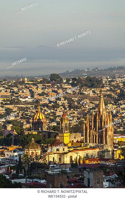 The skyline and churches of San Miguel de Allende seen from scenic overlook