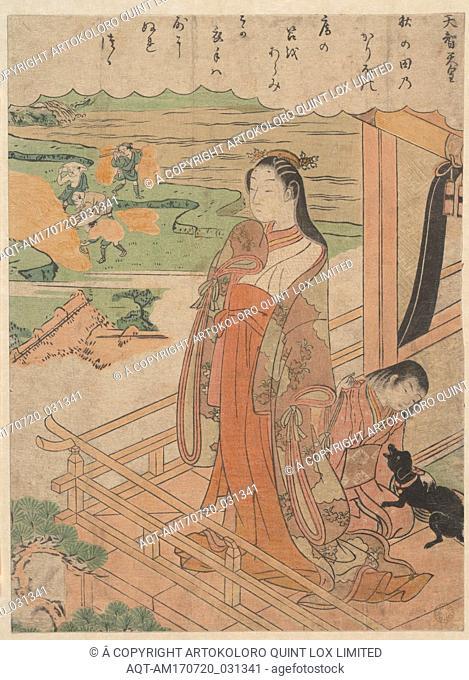 百人一首 天智天皇, Sympathy, Edo period (1615–1868), ca. 1768, Japan, Polychrome woodblock print; ink and color on paper, H. 10 in. (25