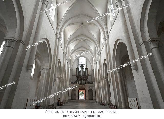 Interior of Cistercian Abbey of Pontigny, L'Abbaye de Pontigny, Burgundy, France