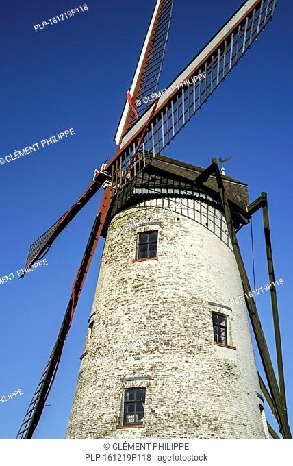 The Schellemolen / Schelle mill, traditional windmill along the canal Damse Vaart near Damme, West Flanders, Belgium
