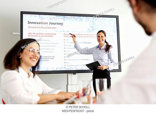 Smiling businesswoman leading a presentation