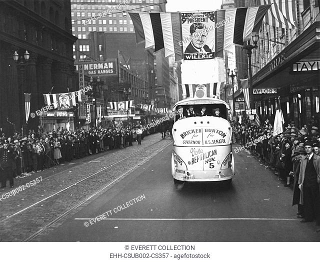Republican Election campaign parade in Cleveland, Ohio, Oct. 4, 1940. Euclid Avenue is decorated with Wendell Wilkie banners and crowds spill over the sidewalks