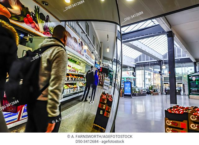 Stockholm, Sweden Shoppers at a foreign food store in the Varberg mall south of town
