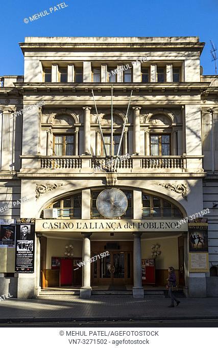 Exterior of Casino L'Alliança of Poble Nou, Rambla del Poble Nou, Barcelona, Catalonia, Spain, Europe. The Casino L'Alliança is a cultural