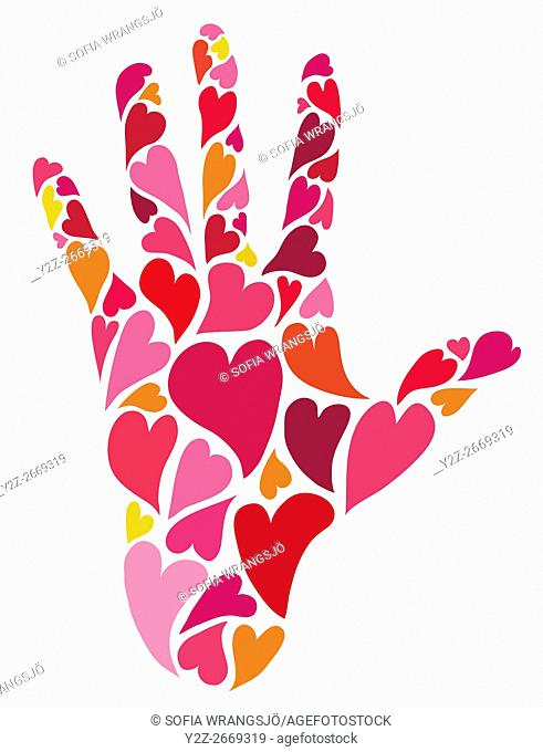 Caring. Human hand made of hearts reaching out. Love, retro style. Pink, red, orange, yellow