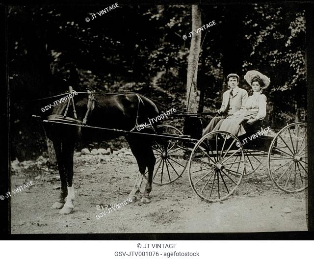 Couple in Horse-Drawn Buggy, Portrait, Circa 1900