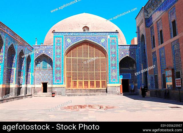 Courtyard in Shrine Ensemble, mausoleum and khaneghah of Sheikh Safi al-din, Ardabil, Iran. Inscription at the entrance - text from the Quran