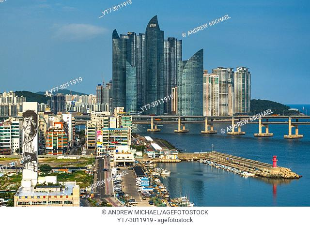 Views of Centum city towers from elevated viewpoint in KwangAn Gwangalli Beach area, Busan city, Yeongnam, South Korea. from elevated viewpoint in KwangAn...