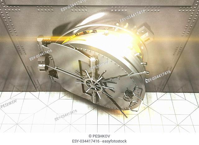 Top view of an open silver bank vault with golden light peeking from inside. 3D Render