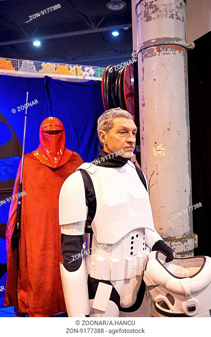 STRASBOURG, FRANCE - MAY 8, 2016: Darth Vader also known as Anakin Skywalker taking a pause at the open market Digital Game Manga Show