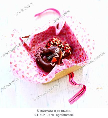 Saint Valentine chocolate donuts
