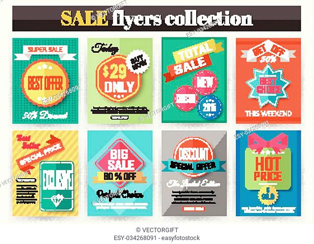 Set of colorful Sale flyers. Best creative design for Sale and Discount Offers poster, placard, brochure, banner, presentation with place for text