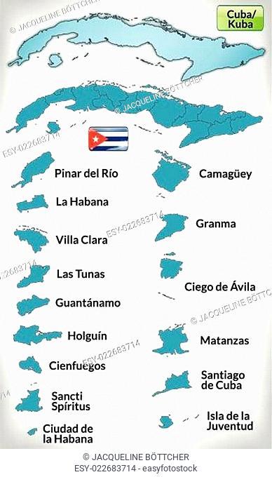 Karte von Kuba mit Grenzen in Blau