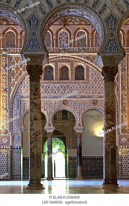 Inside the Alcazar of Seville, royal palace originally a Moorish fort, Seville, Spain
