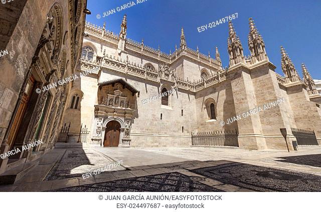 Royal Chapel outdoors at Granada Cathedral, Spain. Panoramic shot