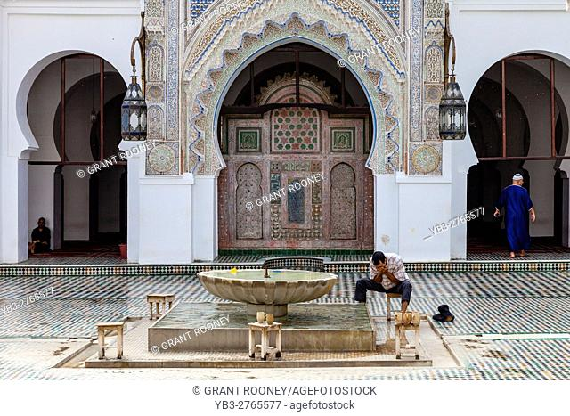 Muslim Men Washing Before Prayer, The Al-Karaouine Mosque, Fez el Bali, Fez, Morocco
