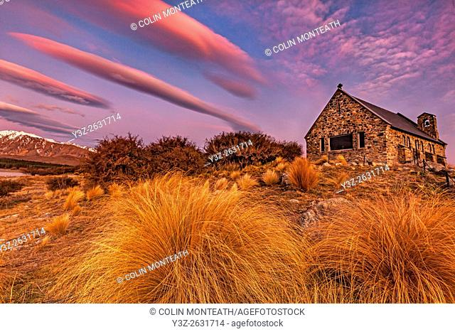 Church of Good Shepherd, winter evening, Lake Tekapo, Mackenzie Country, Canterbury