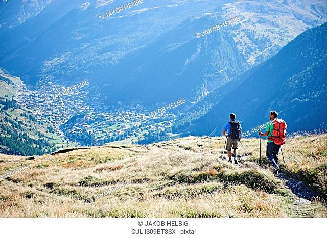 Hikers on grassy cliff overlooking valley, Mont Cervin, Matterhorn, Valais, Switzerland