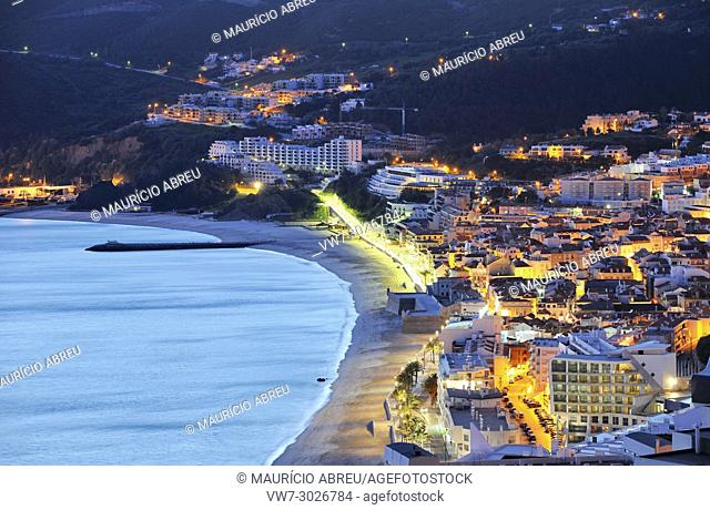 Sesimbra and the town beach. Portugal