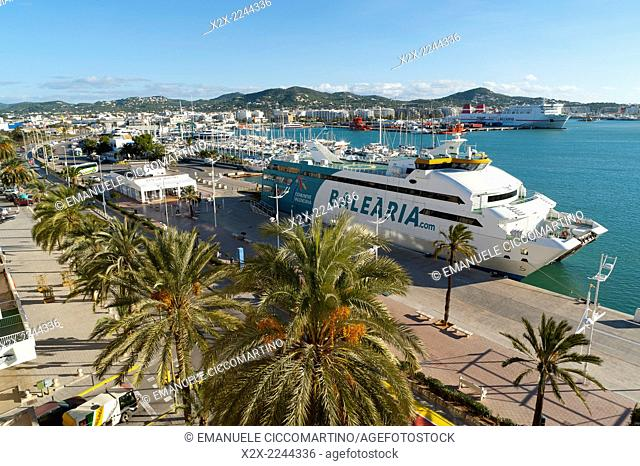 Balearia ferry, view of the boats, La Marina, Port of Ibiza, Eivissa, Ibiza, Balearic Islands, Spain, Mediterranean, Europe
