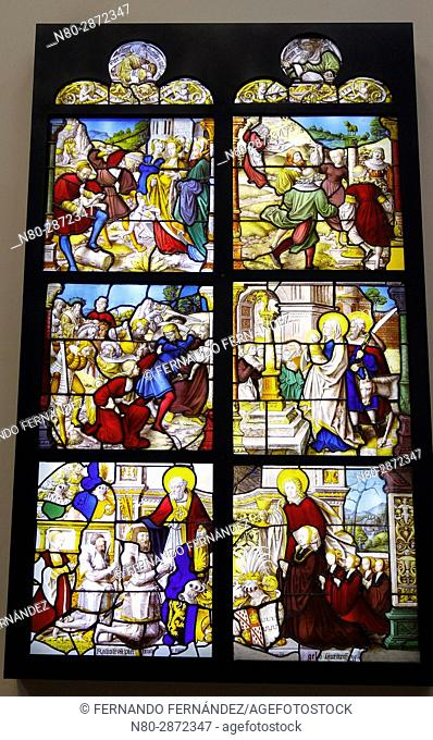 Stained glass from Mariawald. Glass, with paint and silver stain. Germany. Lower Rhine. About 1520-1530. The Victoria and Albert Museum. London