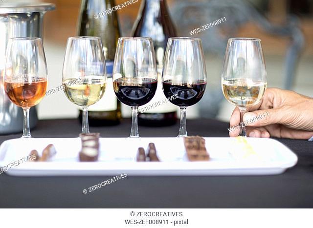 Wine degustation with chocolates