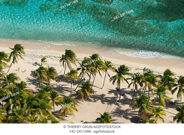 France. Guadeloupe, La Desirade island, Beausejour, beach plage à Fifi aerial view