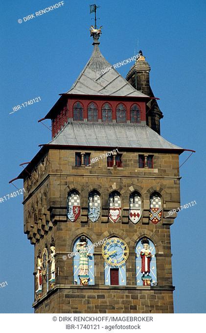 Clock Tower, Cardiff Castle, Cardiff, Wales, United Kingdom, Europe