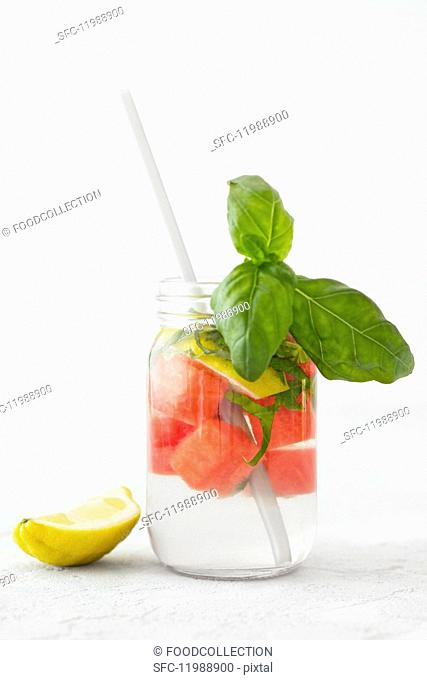 Detox water with melon, lemon and basil