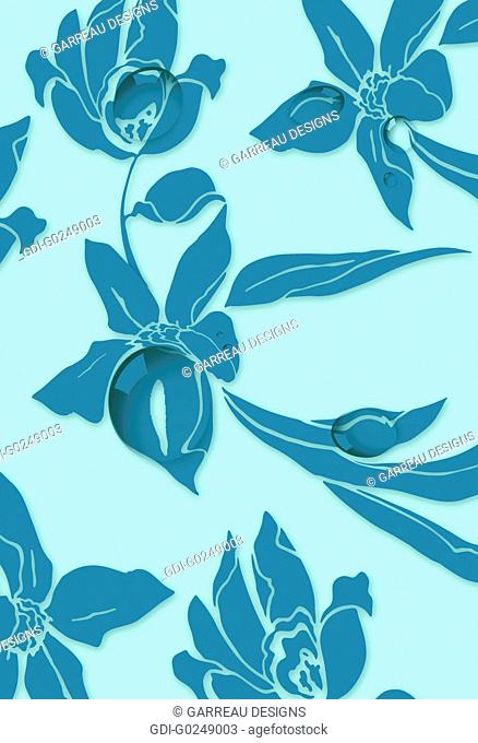 Aqua and teal iris design with water droplets