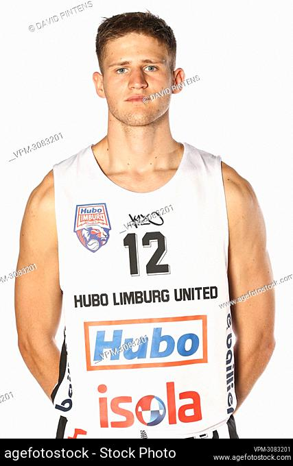 Yannick Dammen poses at a photoshoot of Belgian Basketball team Limburg United, ahead of the 2021-2022 EuroMillions League, Tuesday 07 September 2021 in Hasselt