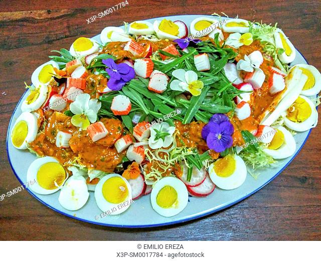 Salad with eggs and herbs