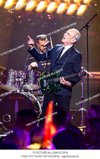 15 November 2019, Baden-Wuerttemberg, Offenburg: The musicians of the band Status Quo perform during the recording of the New Year's Eve show of BR, ORF and SRF