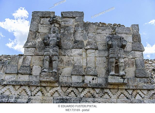 Soldiers sculpture in the ruins of Kabah, Yucatan Peninsula, Mexico