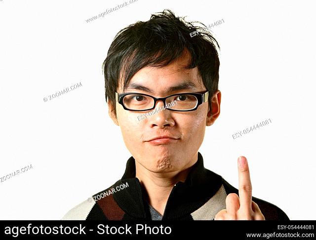 man shows middle finger