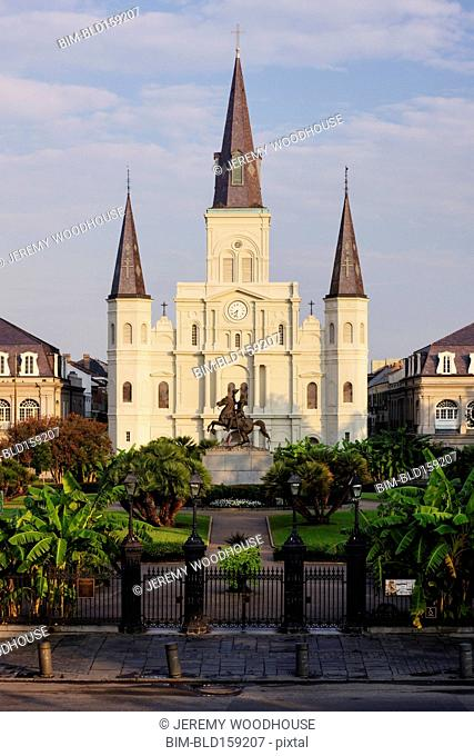Statue in front of St. Louis Cathedral, New Orleans, Louisiana, United States