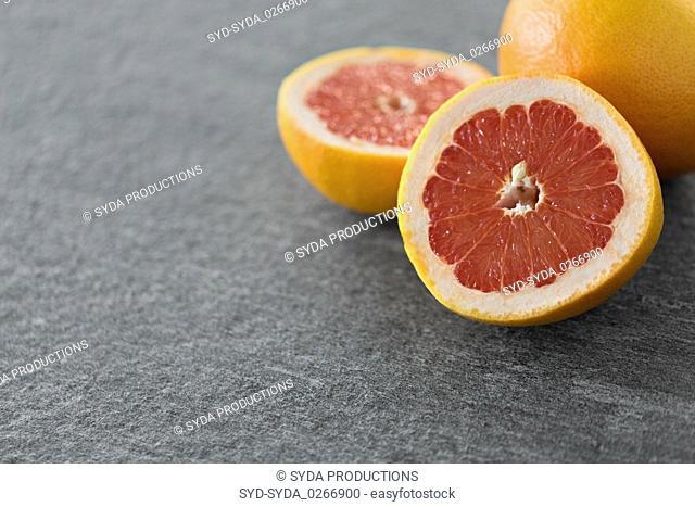 close up of fresh juicy grapefruits