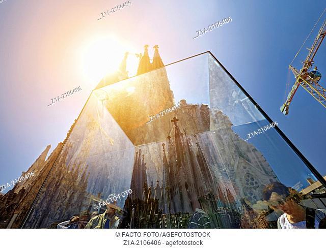 Sagrada Familia's view through its mockup, designed by architect Antoni Gaudi. UNESCO World Heritage Site, Barcelona, Catalonia, Spain