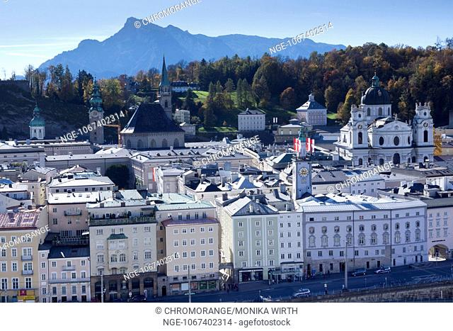 View from Kapuzinerberg mountain of Salzburg, in the background the Collegiate church, Salzburg, Salzburger Land, Austria, Europe